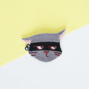 Grey Cat with Attitude Embroidered Iron On Patch