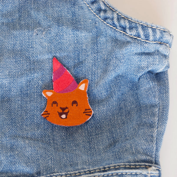 Ginger Cat in Party Hat Embroidered Iron On Patch