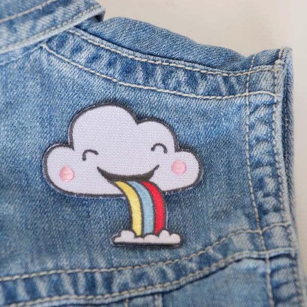 Rainbow Cloud Puking Embroidered Iron On Patch