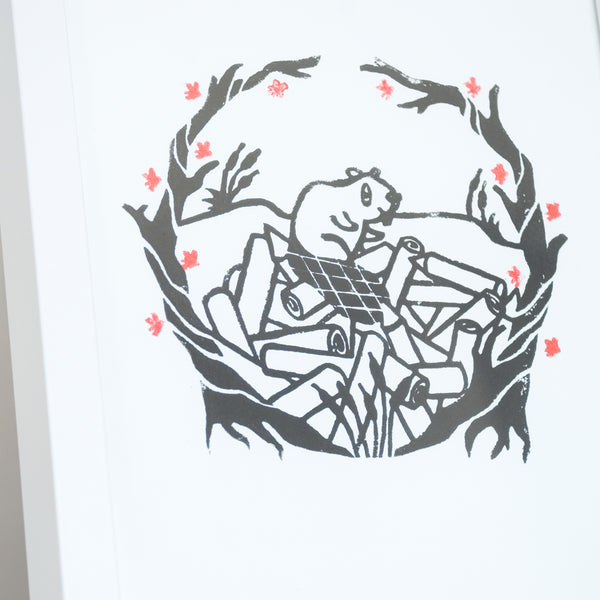 Woodland Beaver Original Block Print Art