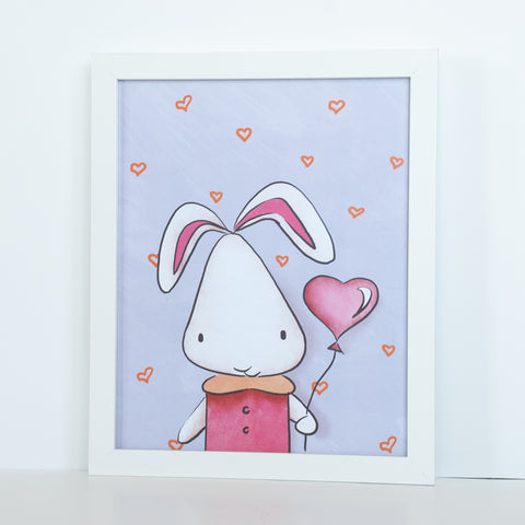 White Bunny Animal Digital Wall Art
