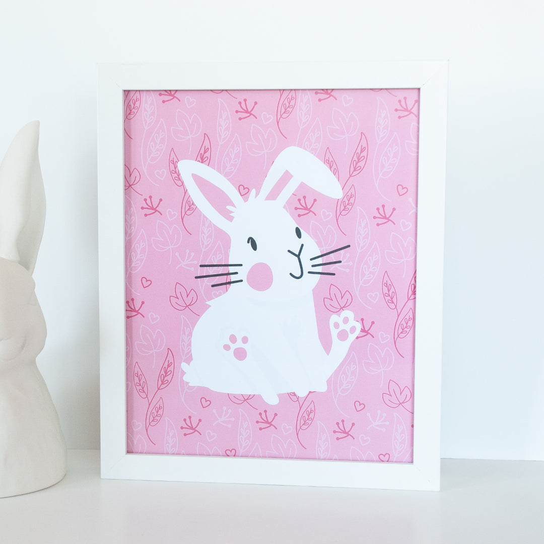Sitting and smiling white bunny on a pink background with leaves 8 x 10 digital animal print