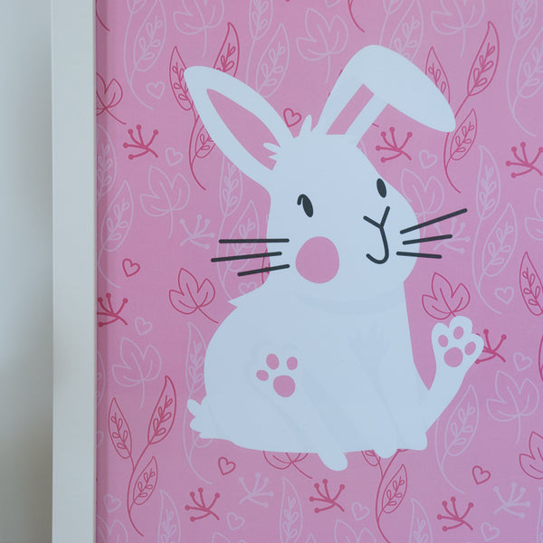 Close up of the 8x10 white bunny animal print