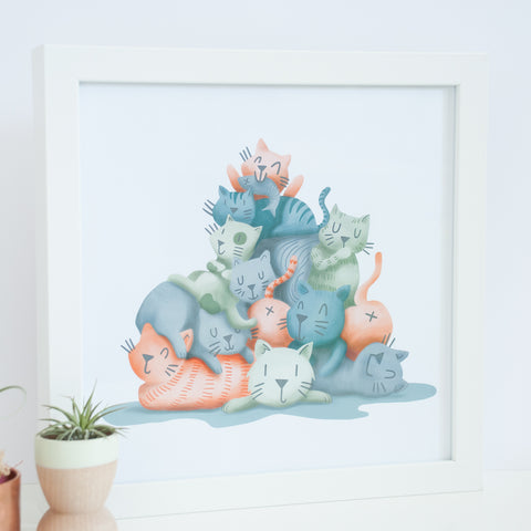 On sale, pile of cats illustration, 9x9 digital print