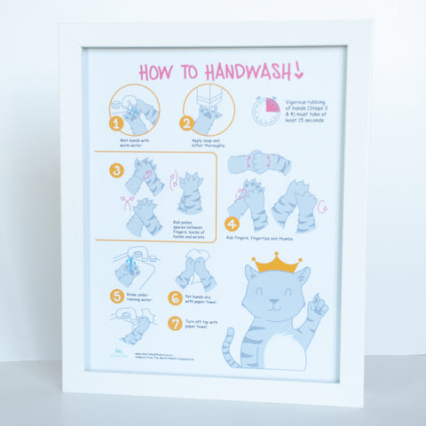 8x10 illustrated digital print of how to wash your hands in the perspective of a cat and its paws
