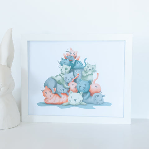 Pile of cats illustration, 10x8 digital print