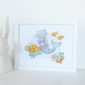 Cat Mermaid Nursery Print