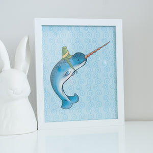 Blue narwhal wearing a green hat on a blue background. 8x10 illustrated digital print