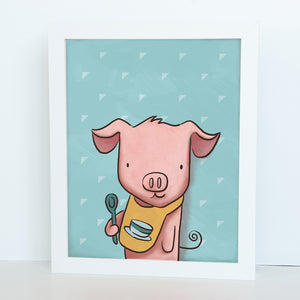 On sale illustrated pink pig as a chef on a blue background 8 x 10 standard digital print