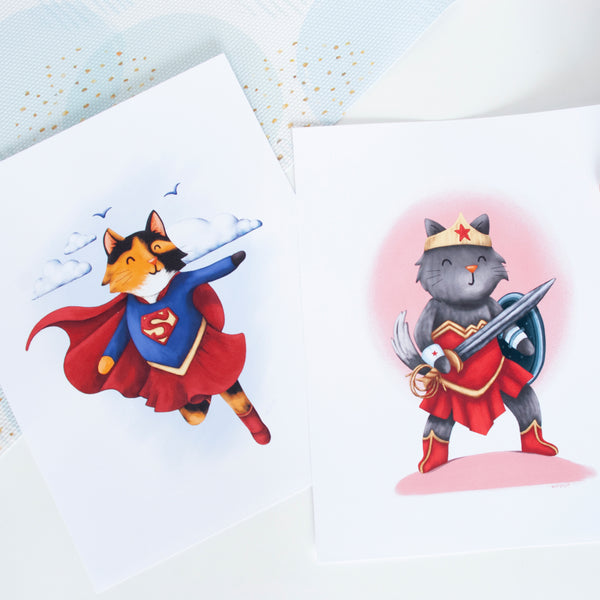 Superhero Grey Cat Animal Wall Art