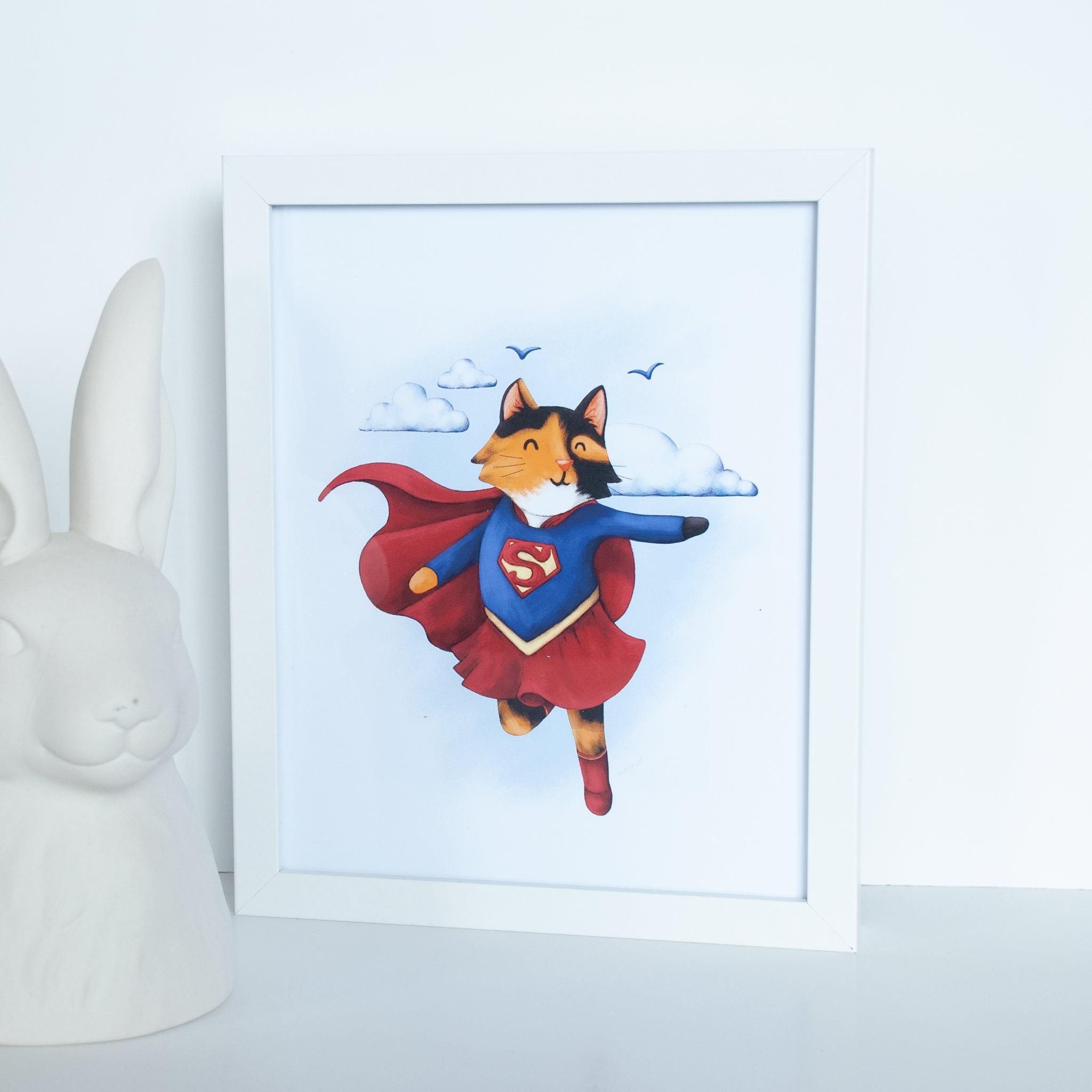 Superhero Calico Cat Animal Wall Art