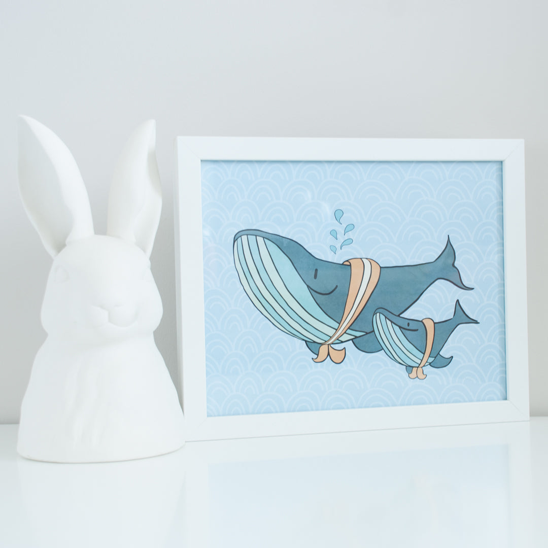 On sale, two blue whales on blue patterned background 8x10 illustration, digital print
