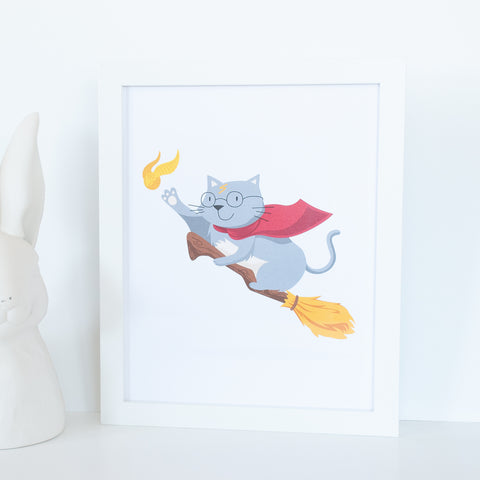 Harry Potter wizarding grey cat on broomstick catching a snitch 8x10 illustrated digital print