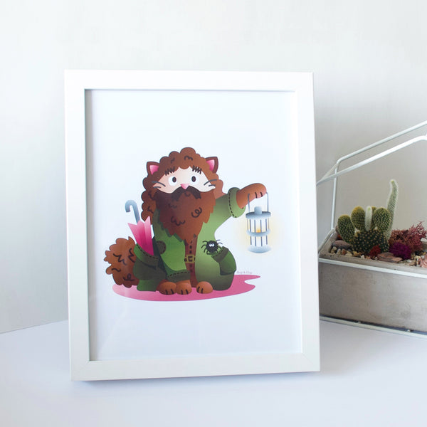 8 x 10 framed artwork of a brown cat Hagrid wizard inspired by Harry Potter world