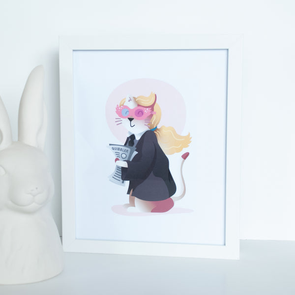 White Cat Wizard Animal Wall Art