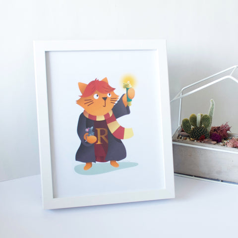 Framed artwork of a Ginger Cat Wizard of Ron Weasley. Inspired by the Harry Potter world.