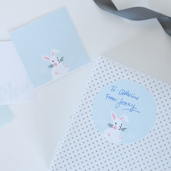 Set of bunny circle gift tag stickes