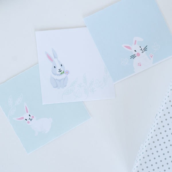 3 different bunny illustrated circle gift tag stickers