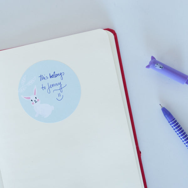 Example of a bunny sticker in a notebook