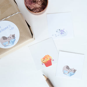 Circle cat illustrated gift tag stickers