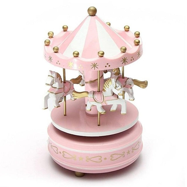 New Merry-go-round Wooden Music Box Toy Child Baby Game Home Decor Carousel Horse Music Box Christmas Wedding Birthday Gift Music Boxes Home Decor