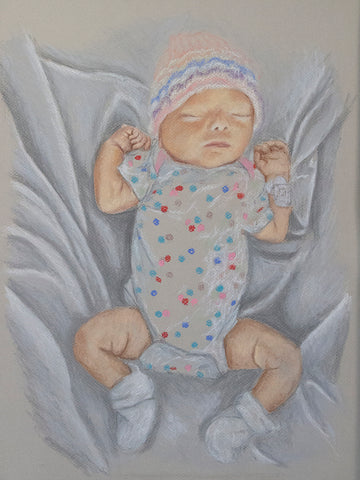 """First Real Clothes, 2020, 12""""x16"""" pastel on paper"""