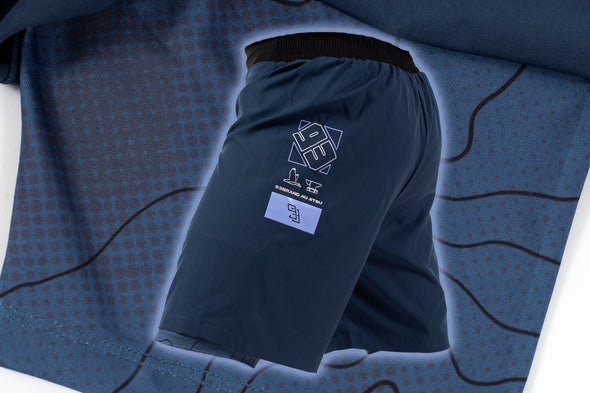"Two-Layer GOD Shorts V5 - Ink Blue ""Halftone Topo"" Edition"