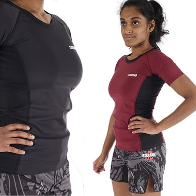 93 Brand Standard Issue Women's Rash Guards 2-PACK (Burgundy, Black)