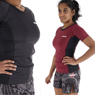 """Standard Issue"" Women's Rash Guards 2-PACK (Burgundy, Black)"
