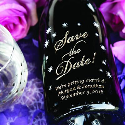 Classic Save the Date Etched Wine