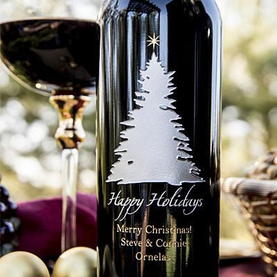 Elegant Tree & Star Etched Wine