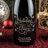Joyful Holiday Cheer Etched Wine