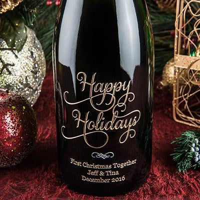 Joyful Happy Holidays Etched Wine