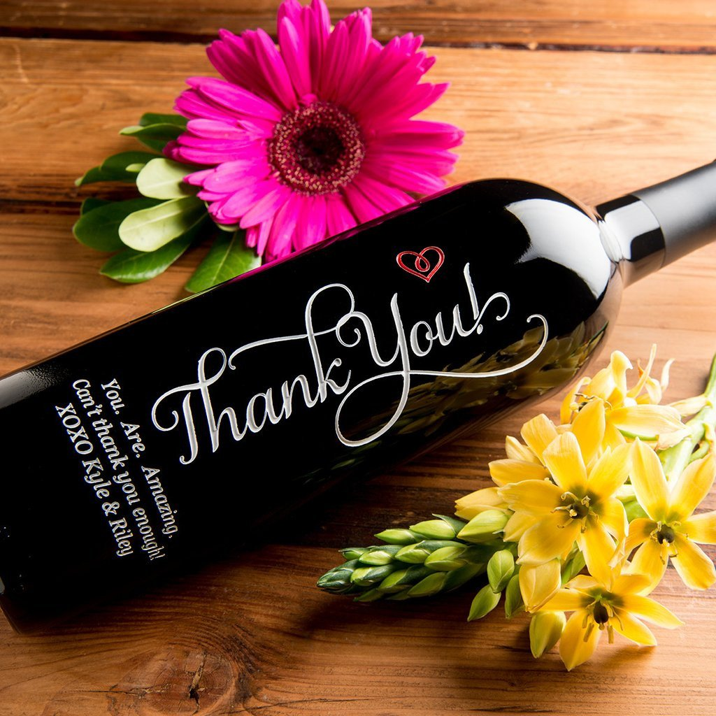 Thank You Heart Etched Wine