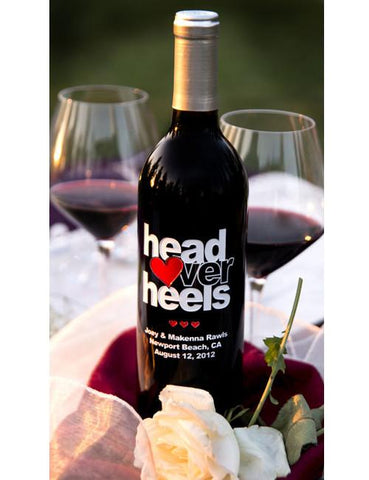 Head Over Heals Etched Wine