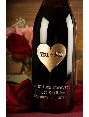 You + Me Heart Etched Wine
