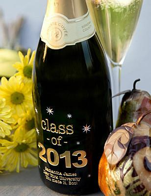 """Class of"" Graduation Etched Wine"
