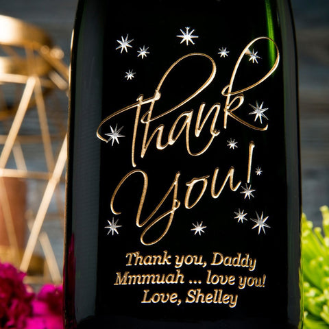 Thank You in the Stars Etched Wine