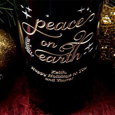 Joyful Peace on Earth Etched Wine
