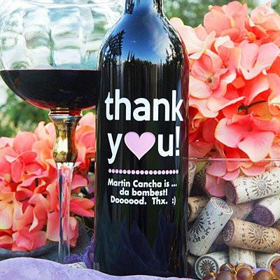 Thank You Pink Heart Etched Wine