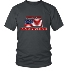 Pray For Our Nation With Waving  USA Flag Unisex T-Shirt charcole