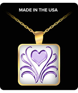 Purple Heart With Swirls Square Gold Plated Necklace