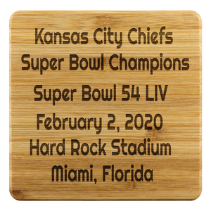 Kansas City Chiefs Super Bowl Champions February 2, 2020,  4 Coasters Set