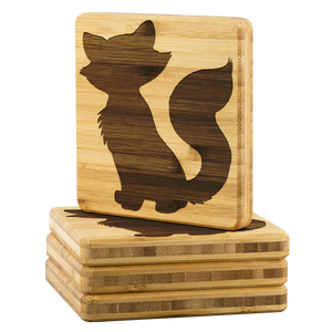 Kitty Cat Bamboo Coasters 4 PC Set gift