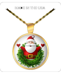 Santa In A Wreath Gold Plated Round Necklace
