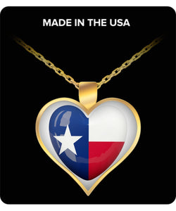Texas Heart Red White And Blue Necklace Gold Plated