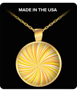 Yellow Orange Swirl Pattern Gold Plated Necklace