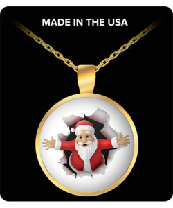 Santa Busting Through To Christmas Gold Plated Necklace