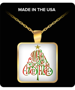 Merry Christmas Words Tree Gold Plated Square Necklace