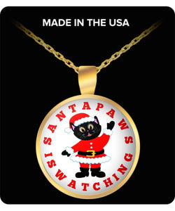 Santa Paws Black Cat Is Watching Round Gold Plated Necklace